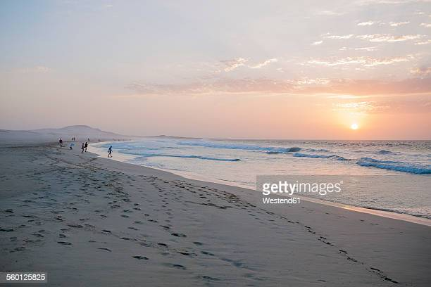 Africa, Cape Verde, Boa Vista, Praia de Chaves, sunset