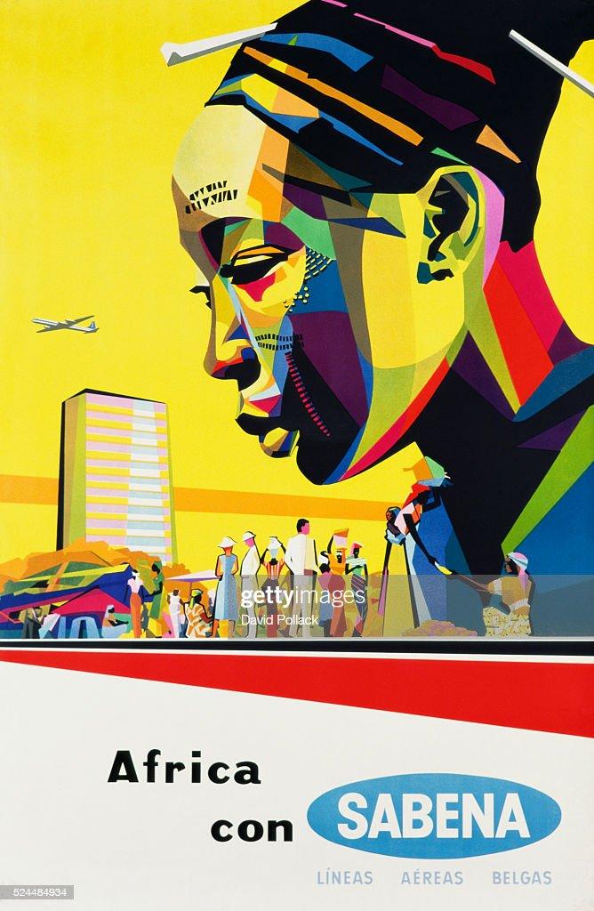 Africa con Sabena Travel Poster