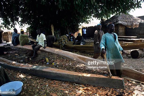 Africa Gambia Gambia River Fishing Village Carving Dugout Canoes