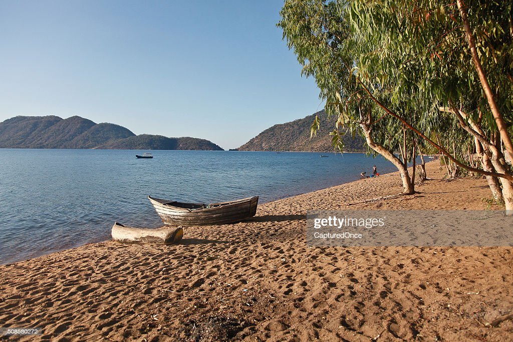 Africa Malawi Lake Malawi Canoe : Stock Photo