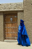 Africa Mali Timbuktu City On The Edge Of The Sahara Desert Sankore Mosque Early 15th Century Tuareg Man Door