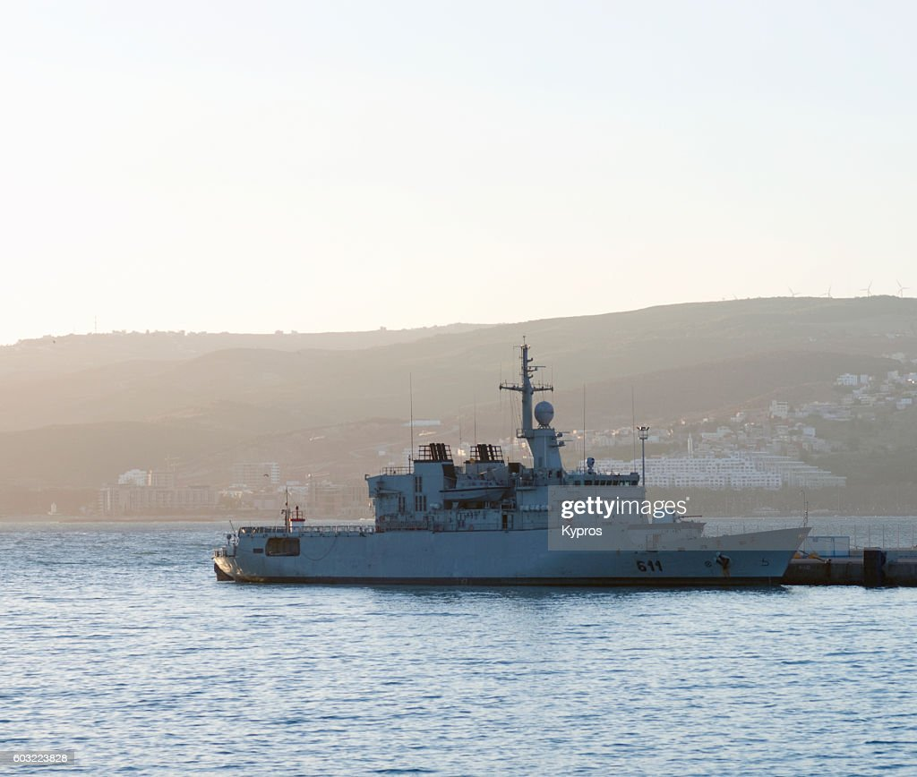 Royal Moroccan Navy Floréal Frigates / Frégates Floréal Marocaines - Page 12 Africa-north-africa-morocco-tangier-area-view-of-boat-military-picture-id603223828