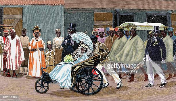 Africa Sierra Leone Bride of the High Society Colored engraving 1880