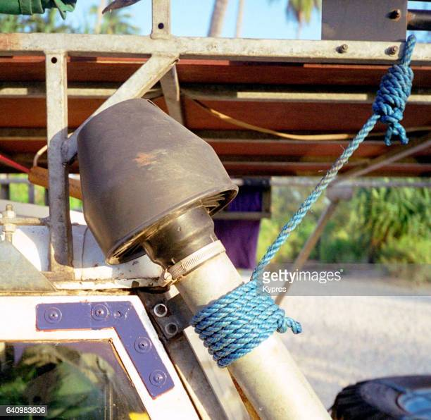 Africa, Tanzania, View Of Raised Air Intake (Snorkel) Tied To Roof Rack With Nylon Rope