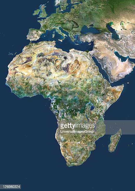 Africa True colour satellite image centred on Africa North is at top Water is blue vegetation is green arid areas are brown and snow and ice are...