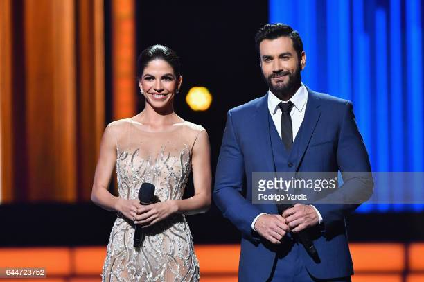 Africa Zavala and David Zepeda onstage during Univision's 29th Edition of Premio Lo Nuestro A La Musica Latina at the American Airlines Arena on...