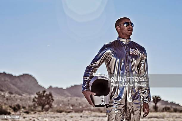 African american astronaut stands