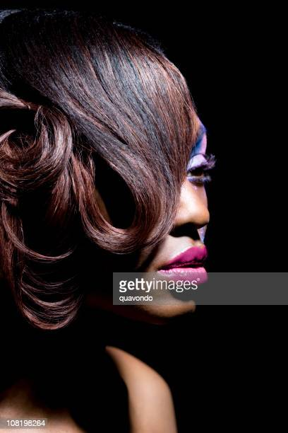 African American Beautiful Woman Portrait with Hairstyle and Make Up
