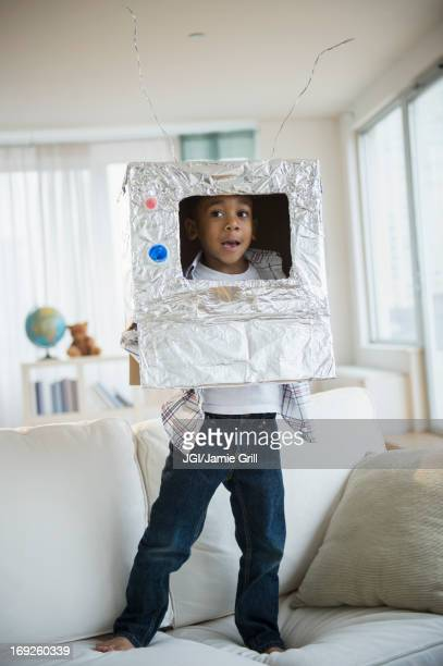 African American boy in robot outfit