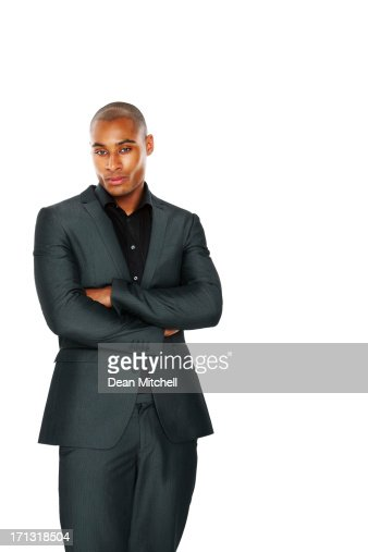 African American businessman on white