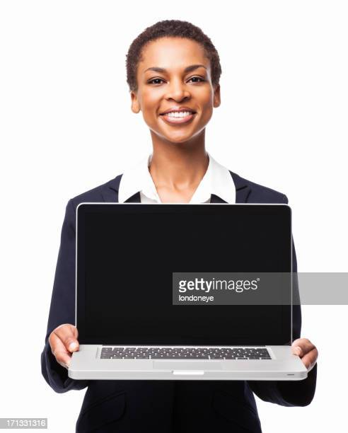 African American Businesswoman Displaying Laptop - Isolated