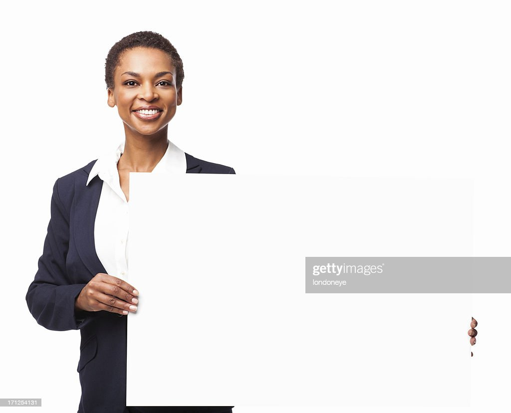 African American Businesswoman Holding a Blank Sign Board - Isolated : Stock Photo