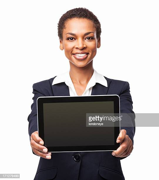 African American Businesswoman Holding Tablet PC - Isolated