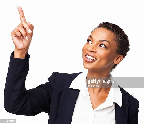 African American Businesswoman Pointing Upwards - Isolated