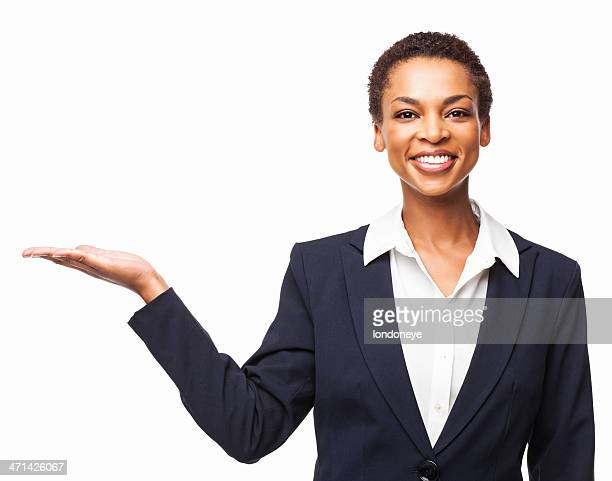 African American Businesswoman Presenting Invisible Product - Isolated