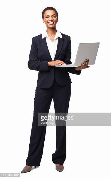 African American Businesswoman Typing On Laptop - Isolated