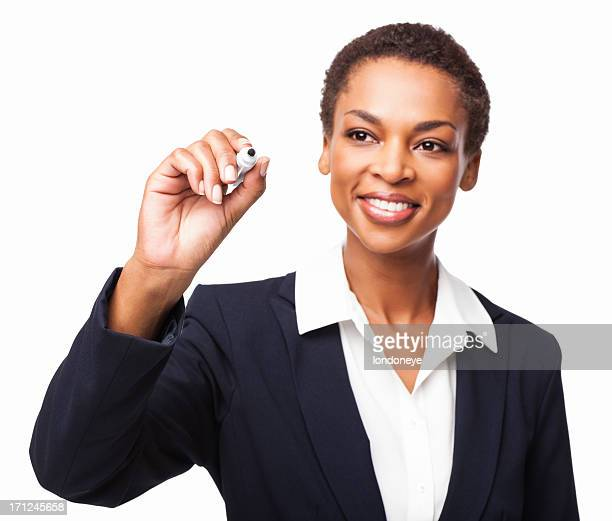 African American Businesswoman Using a Marker - Isolated