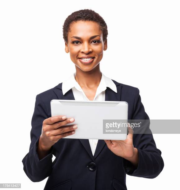 African American Businesswoman Using touchpad PC - Isolated