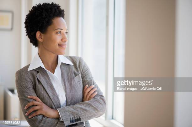 African American businesswoman with arms crossed