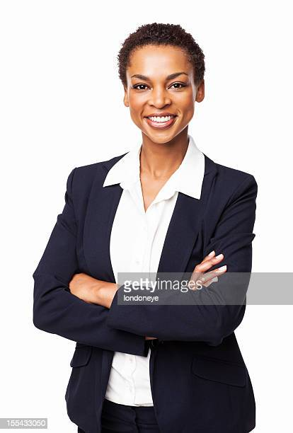 African American Businesswoman With Hands Folded - Isolated