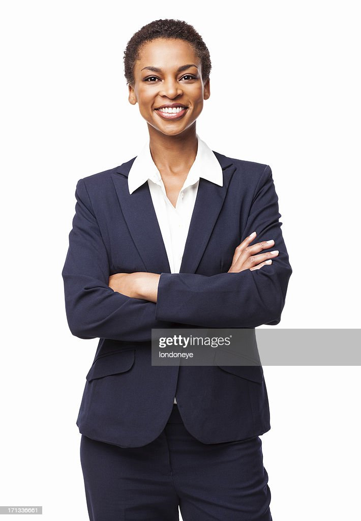 African American Businesswoman With Hands Folded - Isolated : Stock Photo
