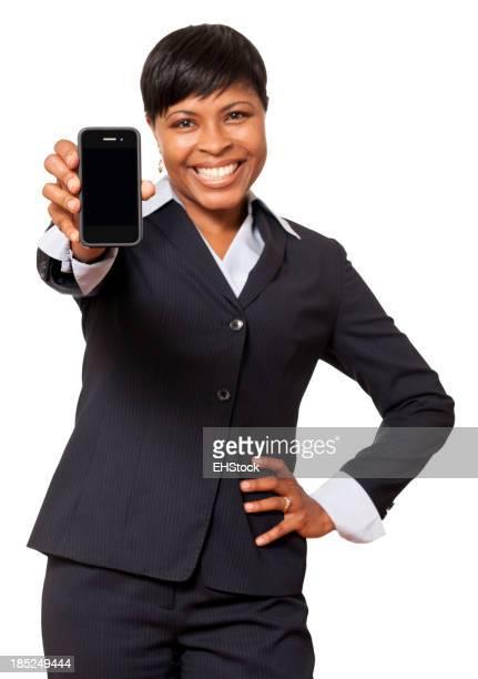 Afro-américain de femme d'affaires avec son Smartphone isolé sur fond blanc