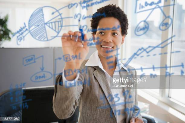 African American businesswoman writing on glass board