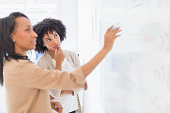 African American businesswomen at whiteboard in office