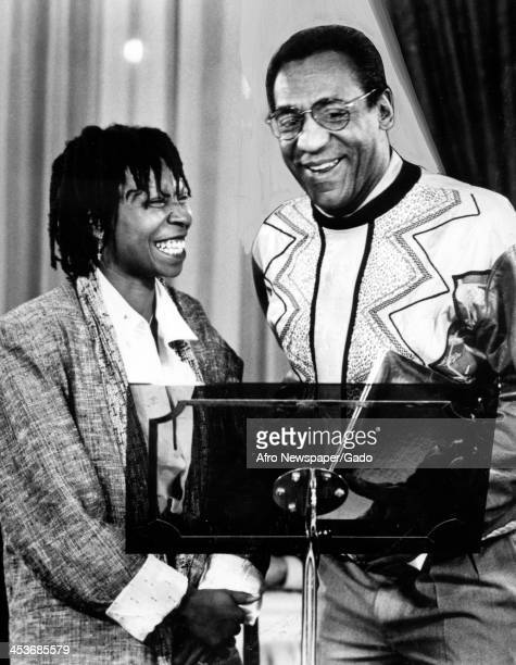 African American comedian and actress Whoopi Goldberg and comedian Bill Cosby 1990