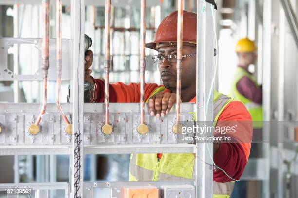 African American construction worker at construction site