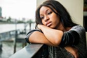 African American Depressive Sad Broken Heart Concept