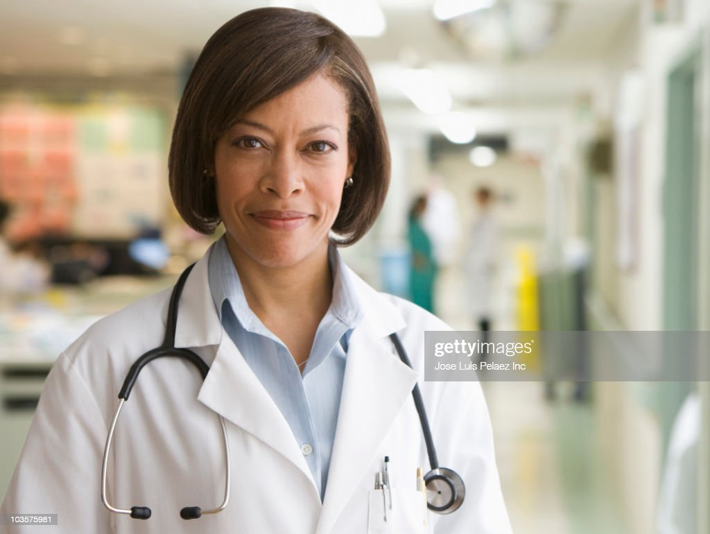 African American doctor in hospital : Stock Photo