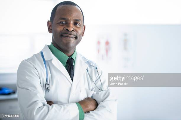 African American doctor smiling in office