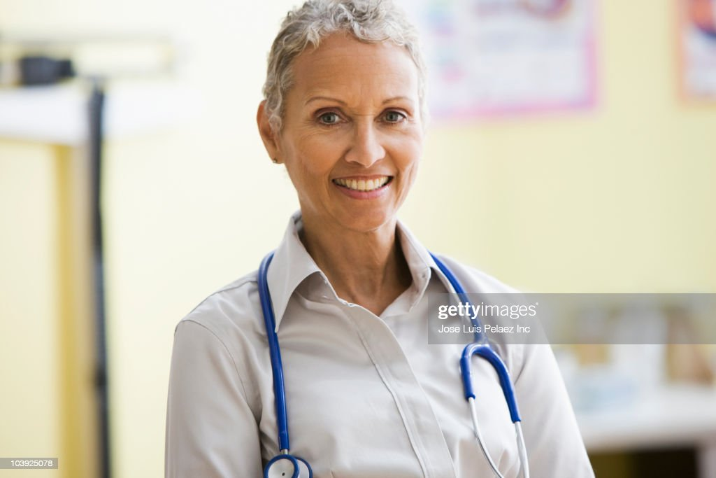 African American doctor with stethoscope : Stock Photo