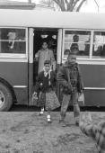 African American elementary school children getting off a bus re segregation of elementary grade schools only prompting the famed legal suit Brown vs...