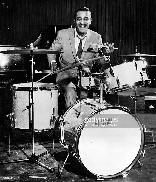 African American entertainer Sammy Davis Junior plays the drums 1970