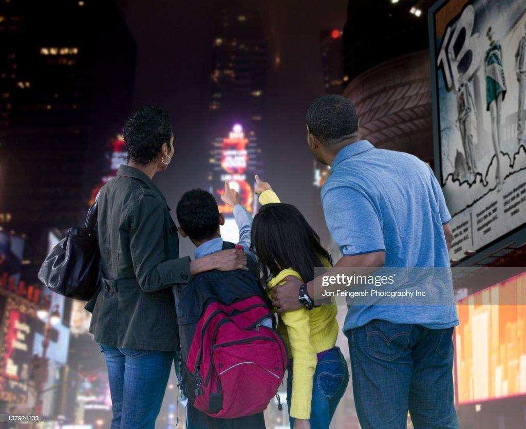 African American family enjoying urban city : Stock Photo