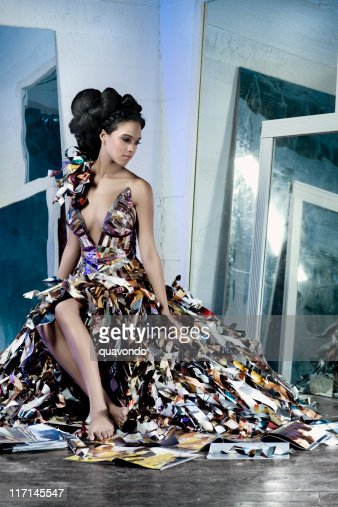 African American Fashion Model in Paper Couture Dress with Mirrors