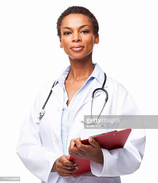 アフリカ系アメリカ人女性医師保持クリップボード-絶縁型