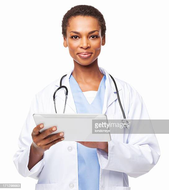 African American Female Doctor With a Digital Tablet - Isolated