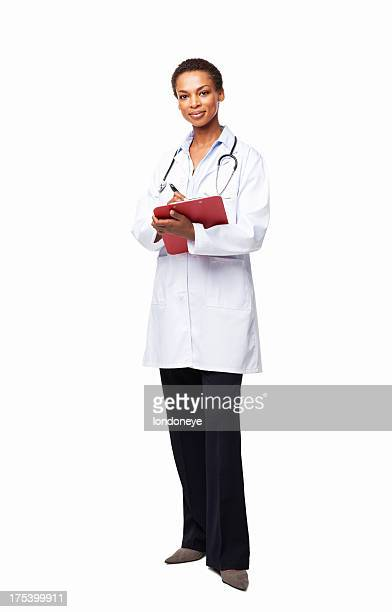 African American Female Doctor Writing a Prescription - Isolated
