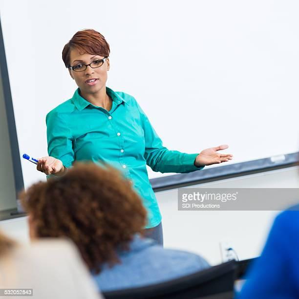 African American female professor teaching in community college