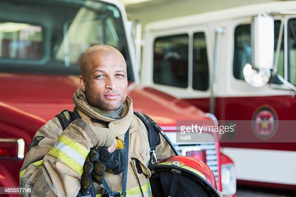 African American fireman at fire station