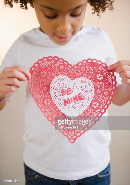 African American girl holding Valentine