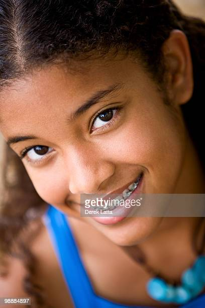 CU of African American Girl with Braces