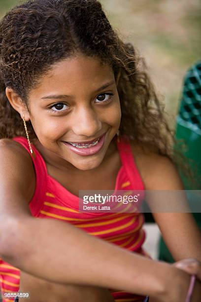 African American girl with braces
