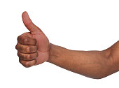 African american hand making thumb up gesture. Close-up of positive sign, like, agreement concept