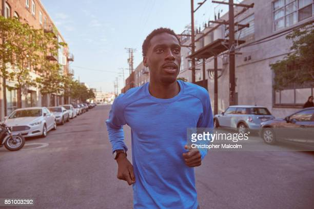 African American jogger in an urban environment
