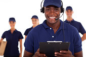 african american male courier service dispatcher and team