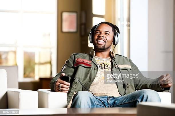 African American Male Enjoying Music